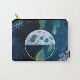 Quarter Moon Original Mixed Media Painting Carry-All Pouch
