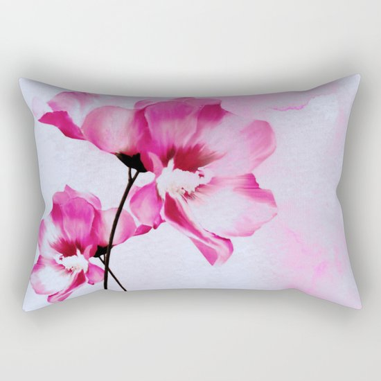 two pinks flowers on watercolors Rectangular Pillow