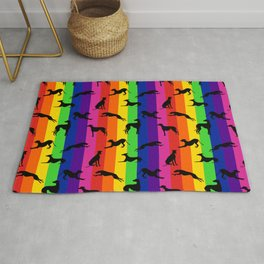 Greyhound Silhouettes on Vertical Stripes Rug