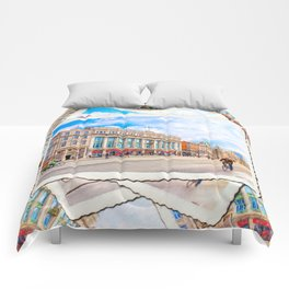 Brilliant Morning Sun On O'Connell Street In Dublin Ireland Comforters