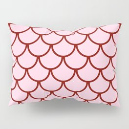 Pink & Red Fish Scales Pattern Pillow Sham