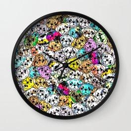 Gemstone Pugs Dogs Wall Clock
