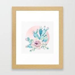 Desert Cactus Flower with Rose Gold Sun Framed Art Print