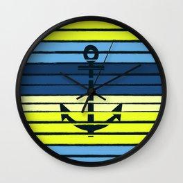 Anchor - beach theme summer tropical nautical home decor dorm decor beach life surfing boating art Wall Clock