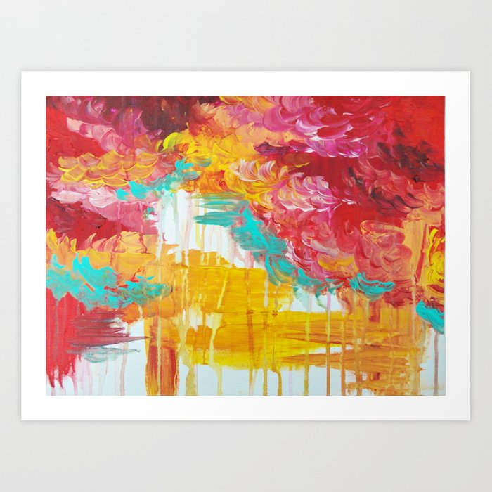 Autumn Skies Amazing Fall Colors Thunder Storm Rainy Sky Clouds Bold Colorful Abstract Painting Art Print By Ebiemporium