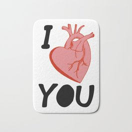 I Love You (white) Bath Mat