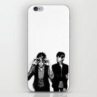 tegan and sara iPhone & iPod Skins featuring Tegan & Tegan & Sara & Sara - Black by c.beanan