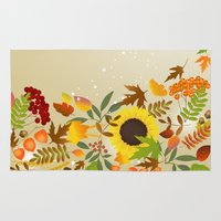 thanksgiving Area & Throw Rugs featuring Golden Thanksgiving by FantasyArtDesigns