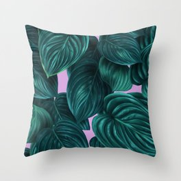 tropical green pattern on pink Throw Pillow