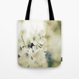 Yellow Green Vintage Cherry Flowers Tote Bag