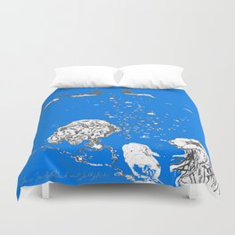 Two Tailed Duck and Jellyfish Royal Brilliant Blue Duvet Cover