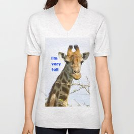 Giraffe - head and neck only with text Unisex V-Neck
