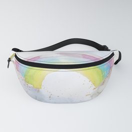 Rainbow Watercolour and Gold Sprinkles Art Print Fanny Pack