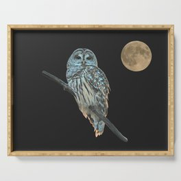 Owl, See the Moon (Barred Owl) Serving Tray