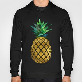 Gold Leaf Pineapple on Marble Background Hoody