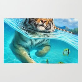 A small swim for a tiger Rug