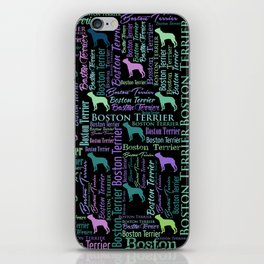 Boston Terrier Dog Word Art pattern iPhone Skin