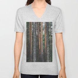 Siberian Forest - Thicket of Tree Trunks Unisex V-Neck