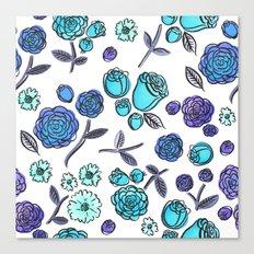 Blue Velvet Roses Canvas Print