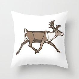 Geometric Reindeer / Caribou Throw Pillow