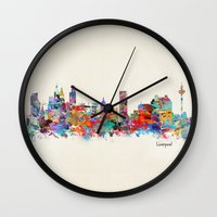 liverpool Wall Clocks featuring liverpool city skyline by bri.buckley