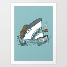 The Dad Shark Art Print