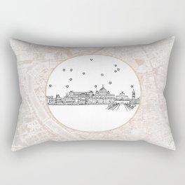 Roma (Rome), Italy, Europe City Skyline Illustration Drawing Rectangular Pillow