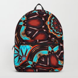 Abstract - Wood & Turquoise Pattern Backpack
