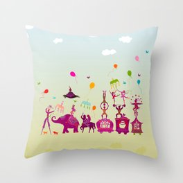 colorful circus carnival traveling in one row during daylight Throw Pillow