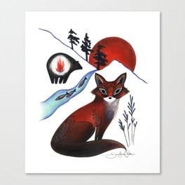 Fox on the Mountain Canvas Print