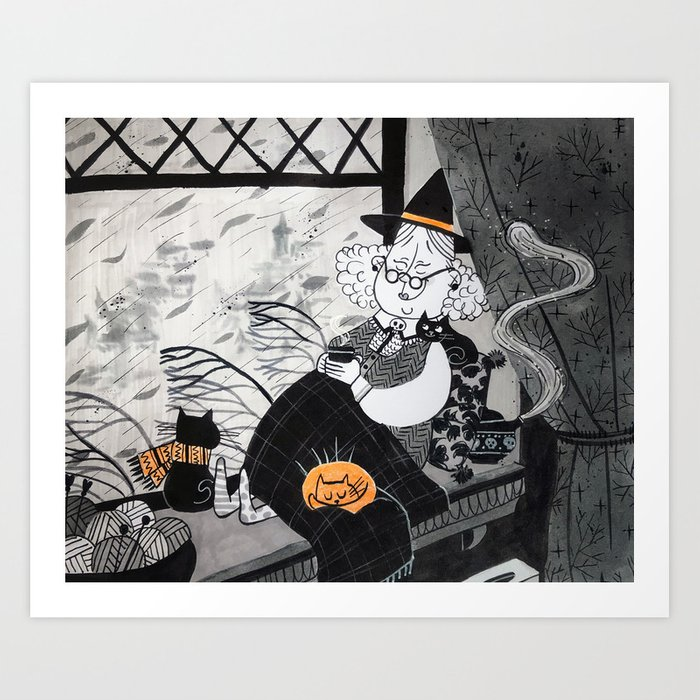 Cozy Time Art Prints Witches Nursery Print Baby Room Wall By Emamalyauka