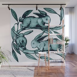 "William De Morgan ""Rabbits Running Along a Branch"" 2. Wall Mural"