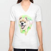 pomeranian V-neck T-shirts featuring Pomeranian dog  - F.I.P. - Jack-Jack by PaperTigress