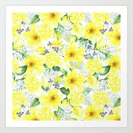 watercolor pattern yellow roses Art Print