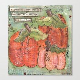 thankful pumpkins Canvas Print