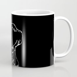 Cat head silhouette, black and white minimal drawing, digital kitty portrait Coffee Mug