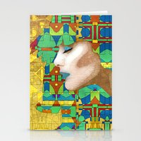 nouveau Stationery Cards featuring Nouveau Girl by Steve W Schwartz Art