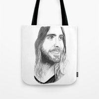 jared leto Tote Bags featuring Jared Leto by Art by Cathrine Gressum