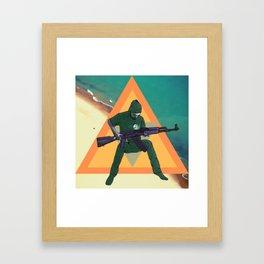 Duncan and the gun Framed Art Print