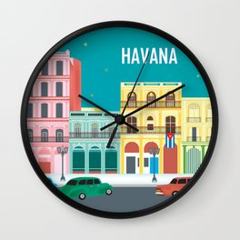 Havana, Cuba - Skyline Illustration by Loose Petals Wall Clock