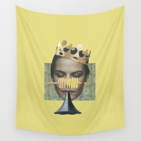 trumpet Wall Tapestries featuring Sad trumpet in yellow by fabiotir