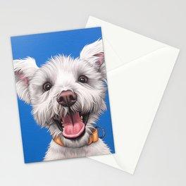 Joyful White Puppy Dog, Smiling Dog Portrait, Sweet Dog Wall Art Stationery Cards