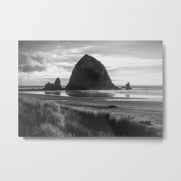 Cannon Beach Sunset - Black and White Nature Photography Metal Print