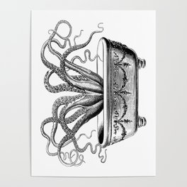 Tentacles in the Tub | Octopus in Bath | Vintage Octopus | Black and White | Poster