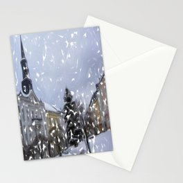 Snowy Day on Mainstreet3 Stationery Cards