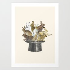 Rabbits in the hat Art Print