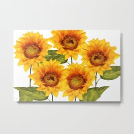 Design Five Sunflower on white Background Metal Print
