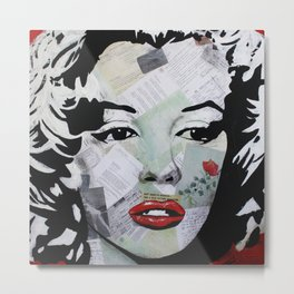 Marilyn «Red Flower» Metal Print
