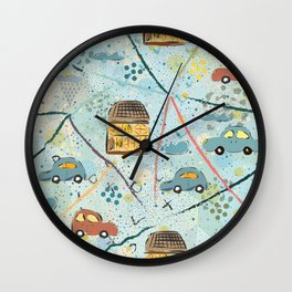Cars and houses Wall Clock