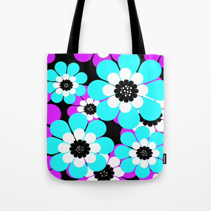 The floral pattern . Purple and turquoise flowers on a black background . Tote Bag